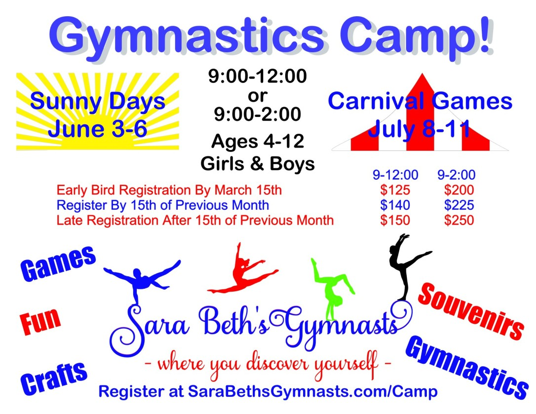 Flyer Sara Beth's Gymnasts Summer Gymnastics Camp